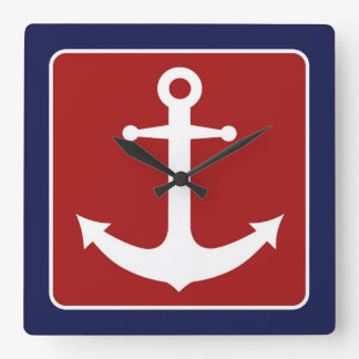 Nautical Anchor - Red White and Blue Square Wall Clock