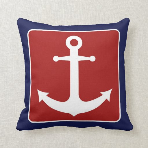 Nautical anchor red white and blue throw pillow zazzle for Red and blue pillows
