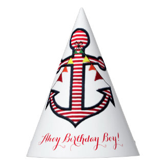 Nautical Anchor Red & White Stripes Ahoy Birthday Party Hat