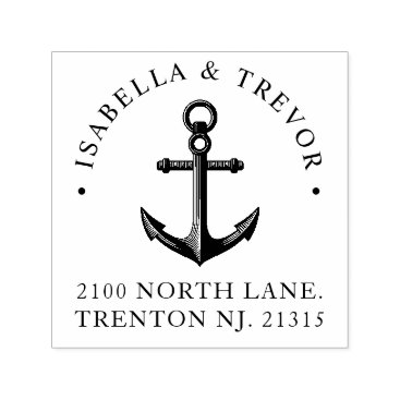 Beach Themed Nautical Anchor | Return Address Black Self-inking Stamp