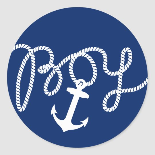 Nautical anchor rope boy baby shower classic round sticker