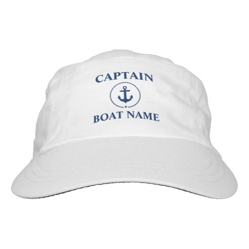Nautical Anchor Rope Captain Boat Name Hat