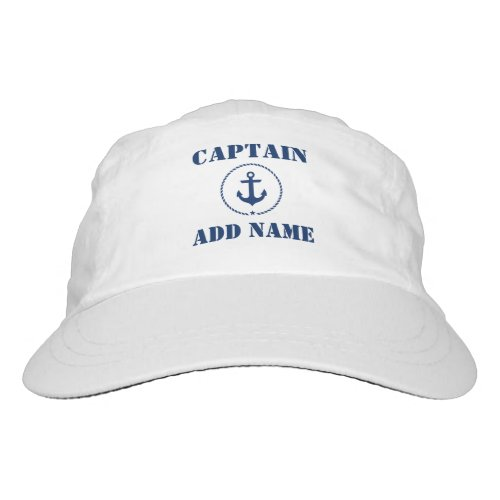 Nautical Anchor Rope Captain Name BW Hat