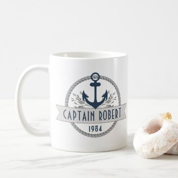 Beach Themed Nautical Anchor & Rope Personalized Logo Coffee Mug