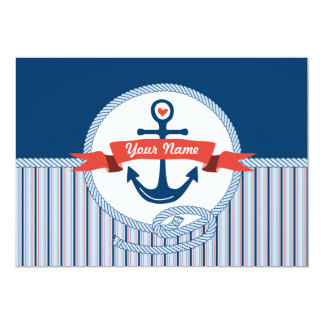 Nautical Anchor Rope Ribbon Stripes Red White Blue Card