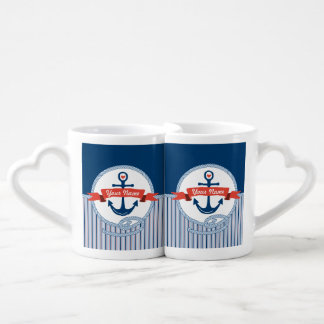Nautical Anchor Rope Ribbon Stripes Red White Blue Coffee Mug Set