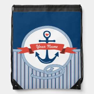 Nautical Anchor Rope Ribbon Stripes Red White Blue Drawstring Backpack