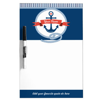 Nautical Anchor Rope Ribbon Stripes Red White Blue Dry Erase Board