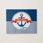 """Nautical Anchor Rope Ribbon Stripes Red White Blue Jigsaw Puzzle<br><div class=""""desc"""">A nautical-themed design, in tones of marine blue, vermillion red and white. In the forefront is a banner for adding your names, initials or other text. I had a fun time drawing each of the elements: anchor, heart, ribbon, rope. A striped pattern at the bottom gives the design a modern...</div>"""