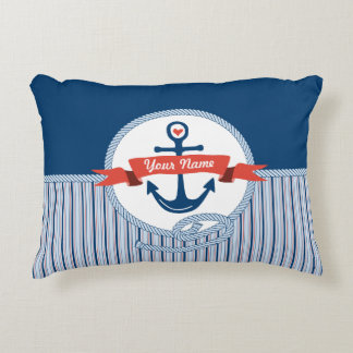 Nautical Anchor Rope Ribbon Stripes Red White Blue Accent Pillow