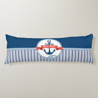 Nautical Anchor Rope Ribbon Stripes Red White Blue Body Pillow