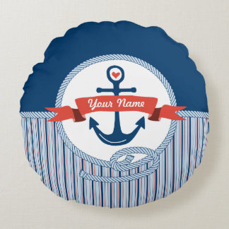 Nautical Anchor Rope Ribbon Stripes Red White Blue Round Pillow