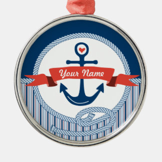 Nautical Anchor Rope Ribbon Stripes Red White Blue Metal Ornament