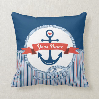 Nautical Anchor Rope Ribbon Stripes Red White Blue Throw Pillows