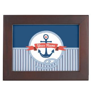 Nautical Anchor Rope Ribbon Stripes Red White Blue Keepsake Box