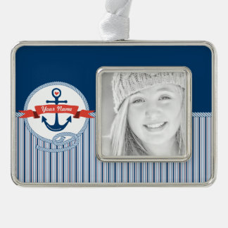 Nautical Anchor Rope Ribbon Stripes Red White Blue Silver Plated Framed Ornament