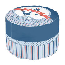 Nautical Anchor Rope Ribbon Stripes Red White Blue Pouf