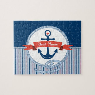 Nautical Anchor Rope Ribbon Stripes Red White Blue Puzzles