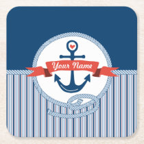 Nautical Anchor Rope Ribbon Stripes Red White Blue Square Paper Coaster