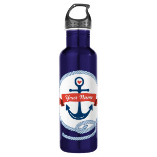 Nautical Anchor Rope Ribbon Stripes Red White Blue Stainless Steel Water Bottle