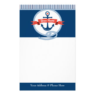 Nautical Anchor Rope Ribbon Stripes Red White Blue Stationery