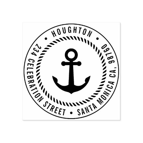 Nautical Anchor  Rope  Round Return Address Rubber Stamp