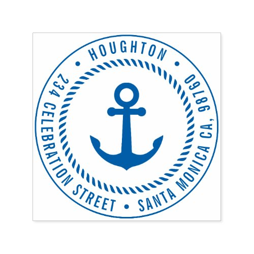 Nautical Anchor  Rope  Round Return Address Self_inking Stamp