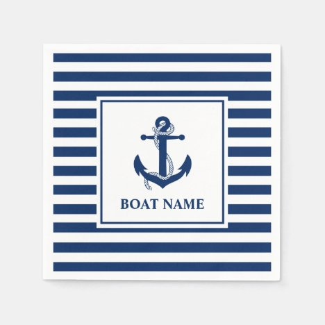 Nautical Anchor Rope Striped Boat Name Napkins