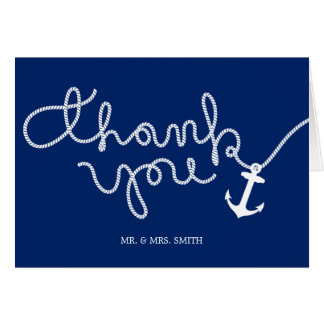 Nautical Anchor & Rope Wedding Thank You Card