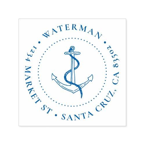 Nautical Anchor Round Family Name Return Address Self_inking Stamp