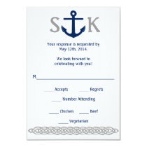 Nautical Anchor RSVP Card Navy and Gray
