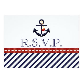 "Nautical Anchor RSVP Response Cards 3.5"" X 5"" Invitation Card"