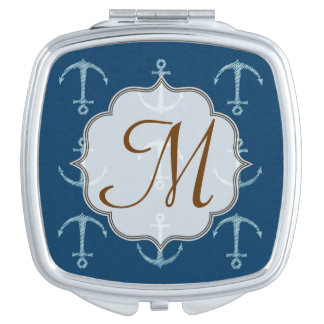 Nautical Anchor Sail Saili Monogram Compact Mirror
