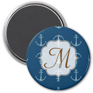 Nautical Anchor Sail Saili Monogram Initial Magnet