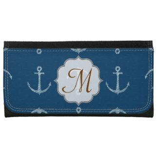 Nautical Anchor Sail Sailing Boat Monogram Wallet