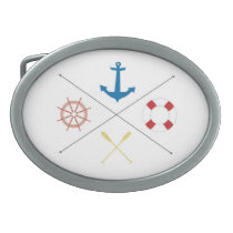 Nautical Anchor Sail Sailing Boat Ore Belt Buckle