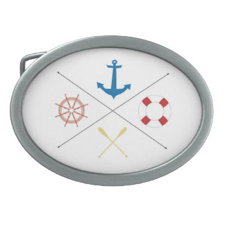 Nautical Anchor Sail Sailing Boat Ore Belt Buckle