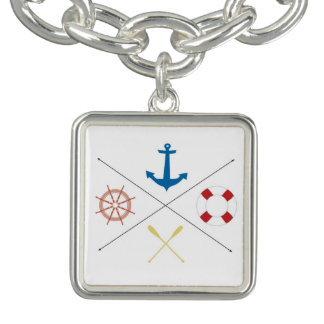 Nautical Anchor Sail Sailing Boat Ore Bracelet