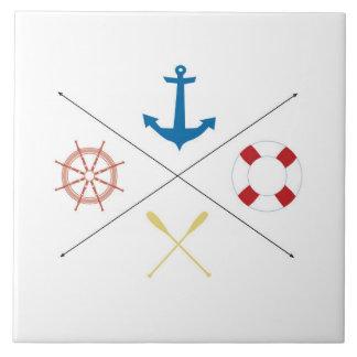 Nautical Anchor Sail Sailing Boat Ore Display Tile