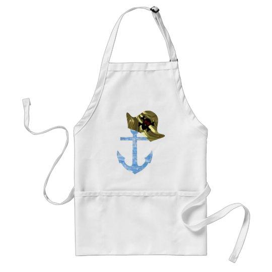 Nautical Anchor & Sailor Skull Hat Adult Apron