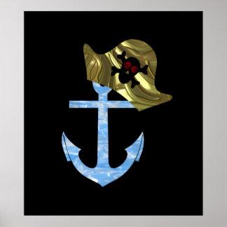 Nautical Anchor & Sailor Skull Hat Poster
