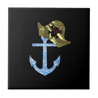 Nautical Anchor & Sailor Skull Hat Tile
