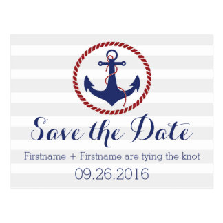 Nautical Anchor Save the Date Postcard