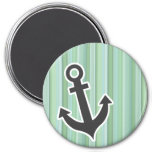 Nautical Anchor Seafoam, Sage Green, & Baby Blue Refrigerator Magnet