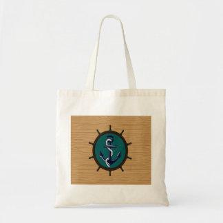 Nautical Anchor Ships Wheel Helm Sailor Design Canvas Bag