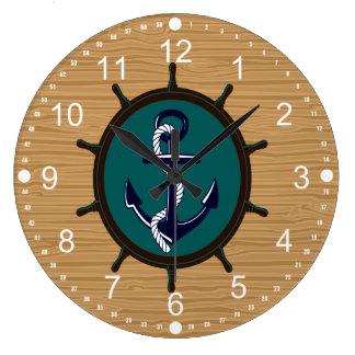 Nautical Anchor Ships Wheel Helm Sailor Design Wallclock