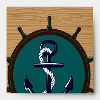 Nautical Anchor Ships Wheel Helm Sailor Design Envelope
