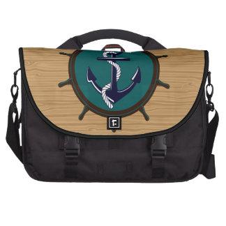 Nautical Anchor Ships Wheel Helm Sailor Design Bags For Laptop