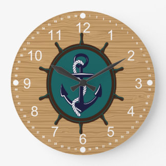 Nautical Anchor Ships Wheel Helm Sailor Design Large Clock