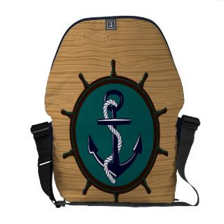 Nautical Anchor Ships Wheel Helm Sailor Design Messenger Bag